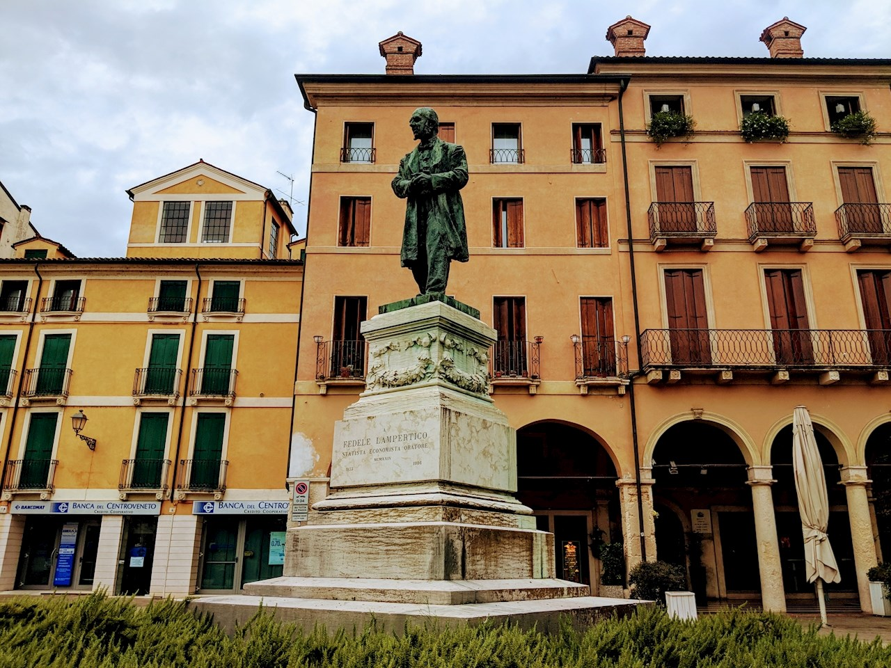 Monument with a statue of Fedele Lampertico